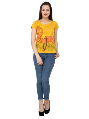 Hand-painted Yoga Mudra T-shirt - RANGRAGE  - 4