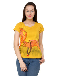 Hand-painted Yoga Mudra T-shirt - RANGRAGE  - 1