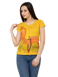 Hand-painted Yoga Mudra T-shirt - RANGRAGE  - 3