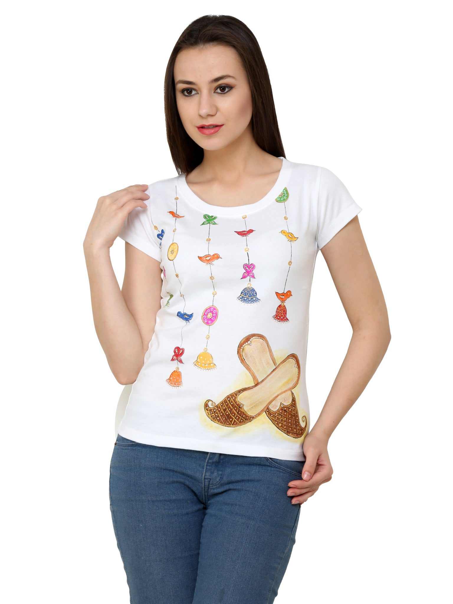 Hand-painted Mojri with Bells T-shirt - Rang Rage  - 1
