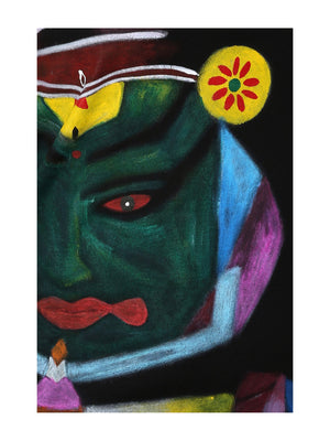 Hand-painted Kathakali Abstract T-shirt - RANGRAGE  - 5