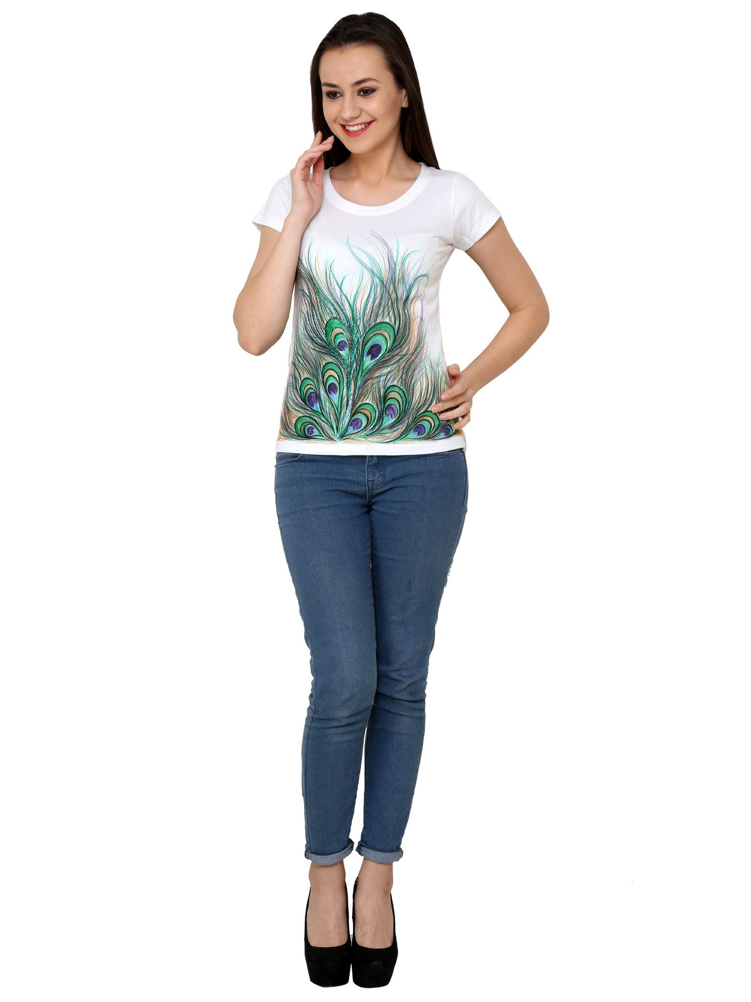 Hand-painted Divine Feather T-shirt - RANGRAGE