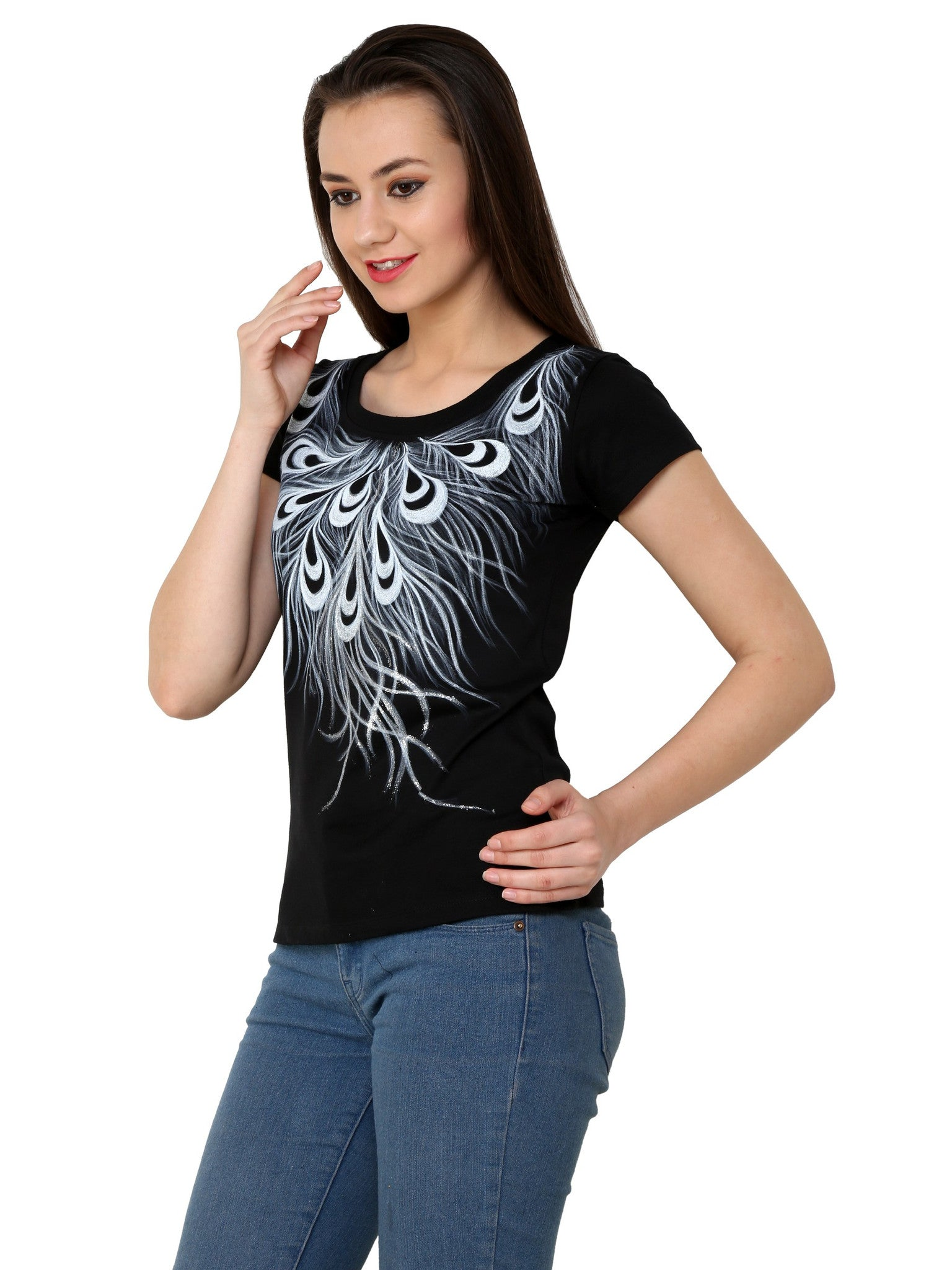 Hand-painted Monochrome Feather T-shirt - RANGRAGE