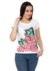 Hand-painted Red Roses T-shirt - RANGRAGE