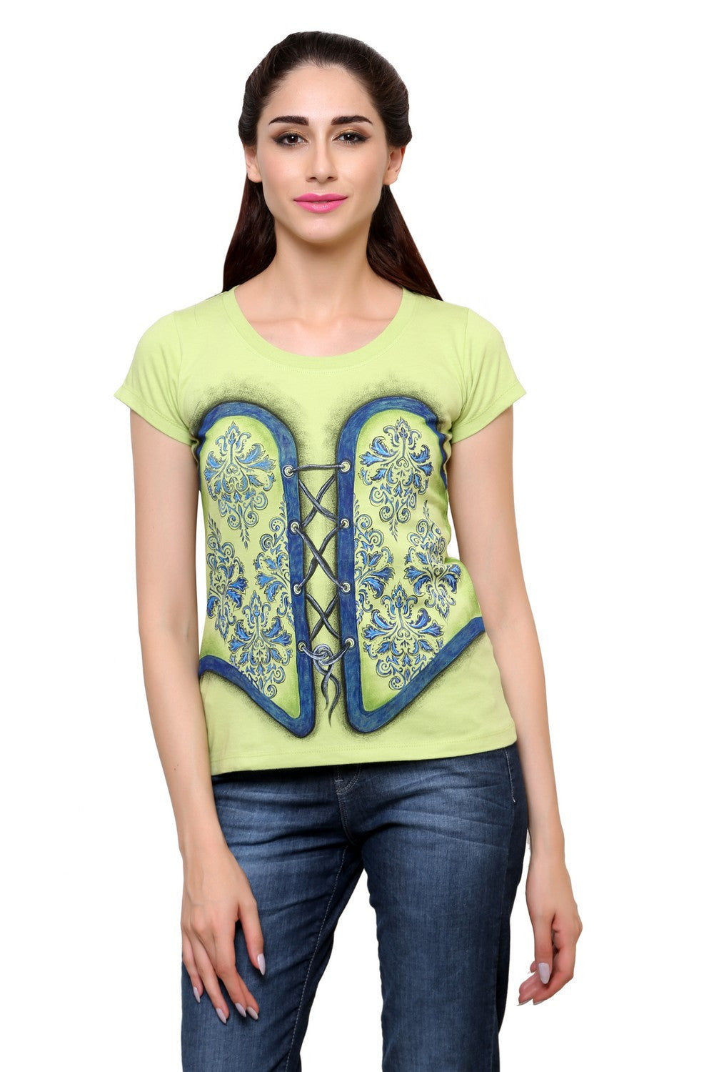 Hand-painted Contemporary Charm Green T-shirt - RANGRAGE