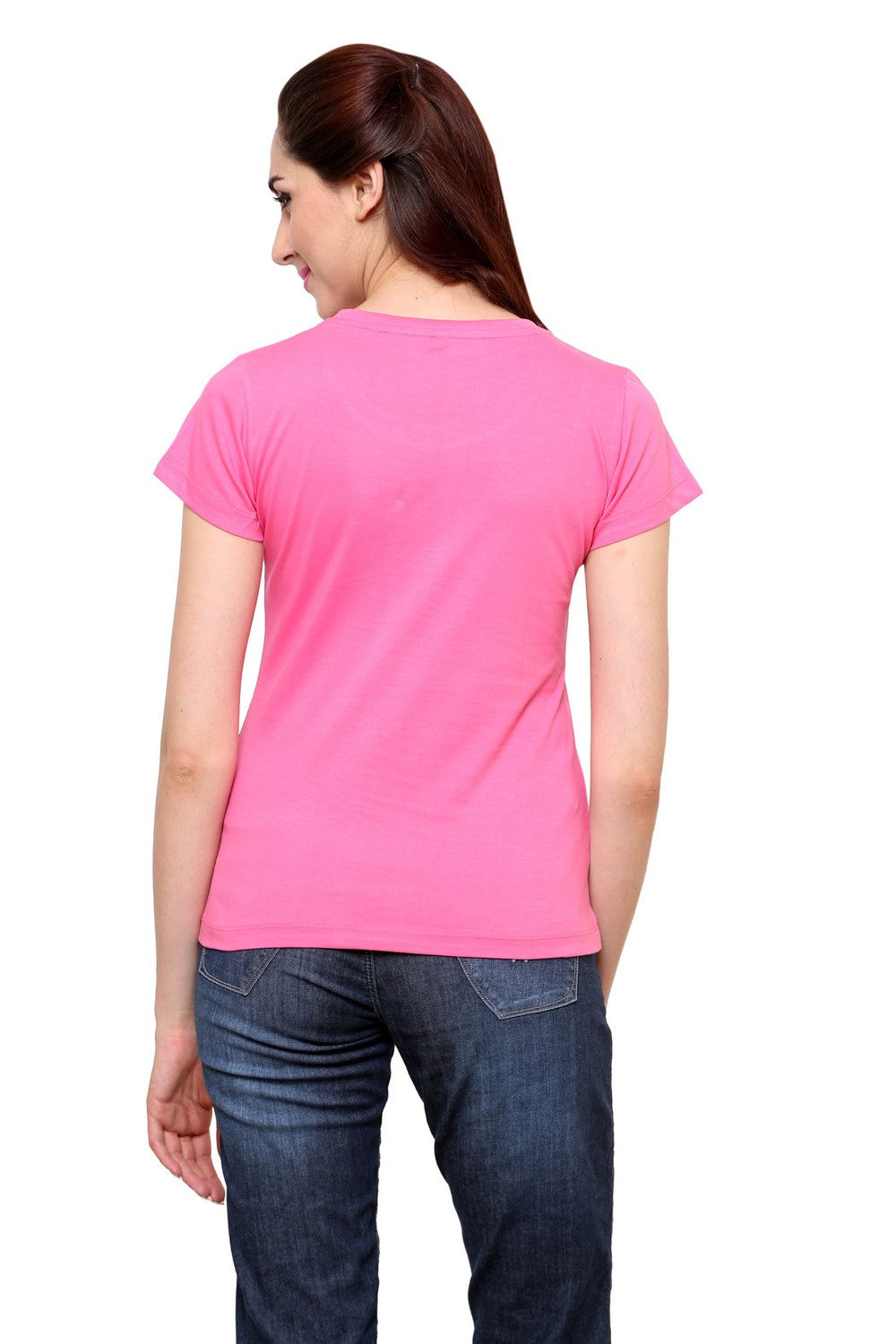 Hand-painted Breezy Leaves Pink T-shirt - RANGRAGE