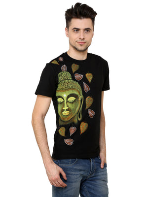 Hand-painted Buddha with Leaves T-shirt - RANGRAGE