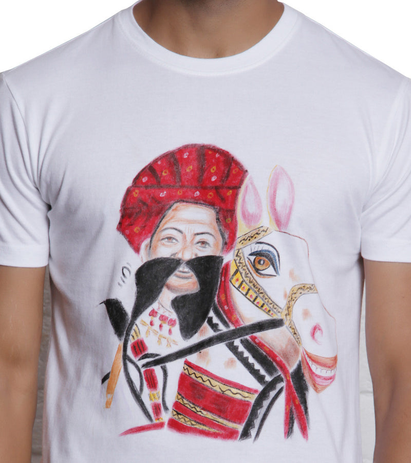 Hand-painted Rajasthani Men T-shirt - RANGRAGE  - 3