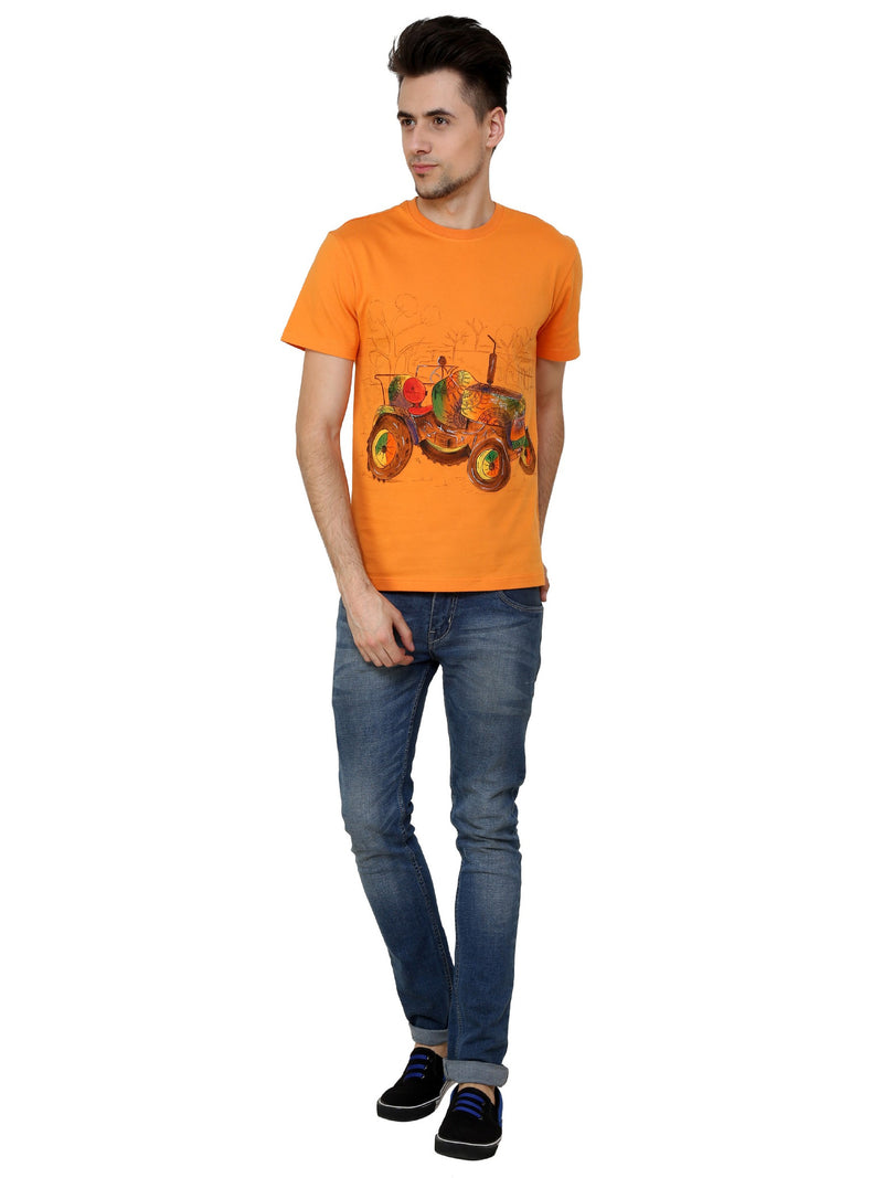 Hand-painted Tractor Orange T-shirt - RANGRAGE  - 4