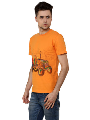 Hand-painted Tractor Orange T-shirt - RANGRAGE  - 3