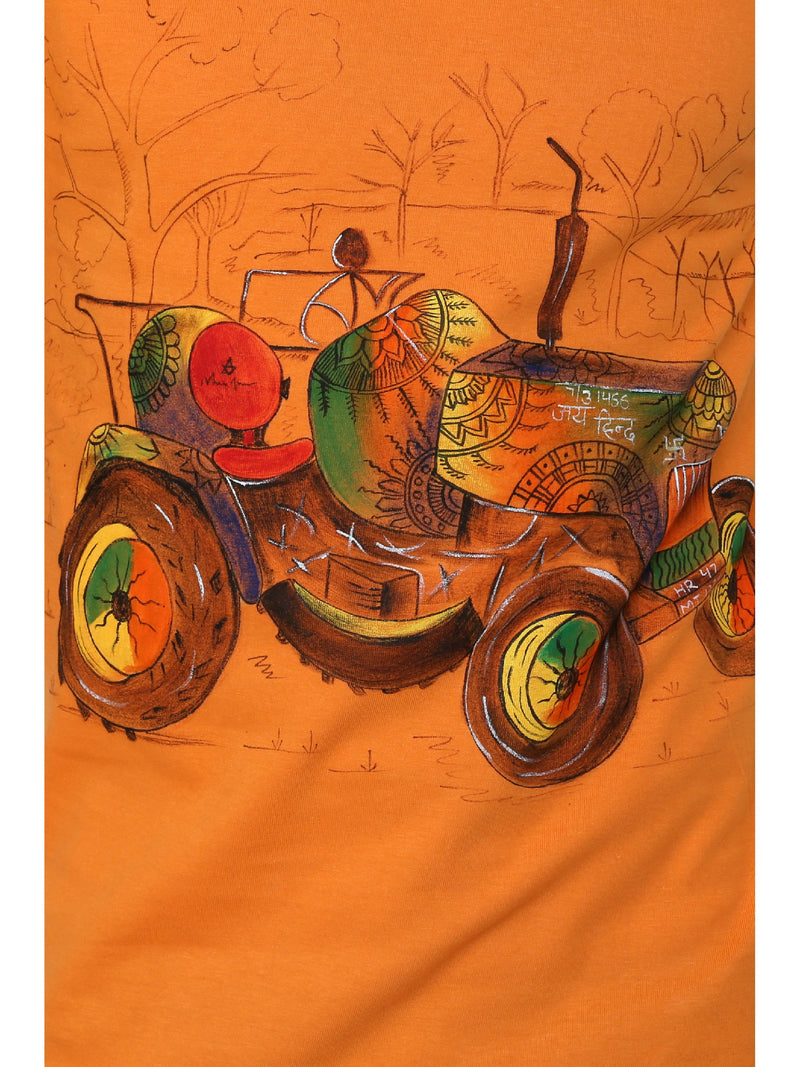 Hand-painted Tractor Orange T-shirt - RANGRAGE  - 5
