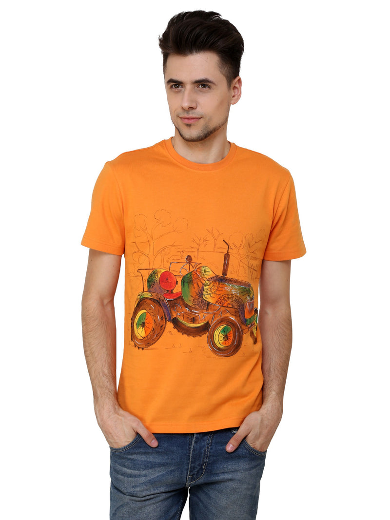 Hand-painted Tractor Orange T-shirt - RANGRAGE  - 1