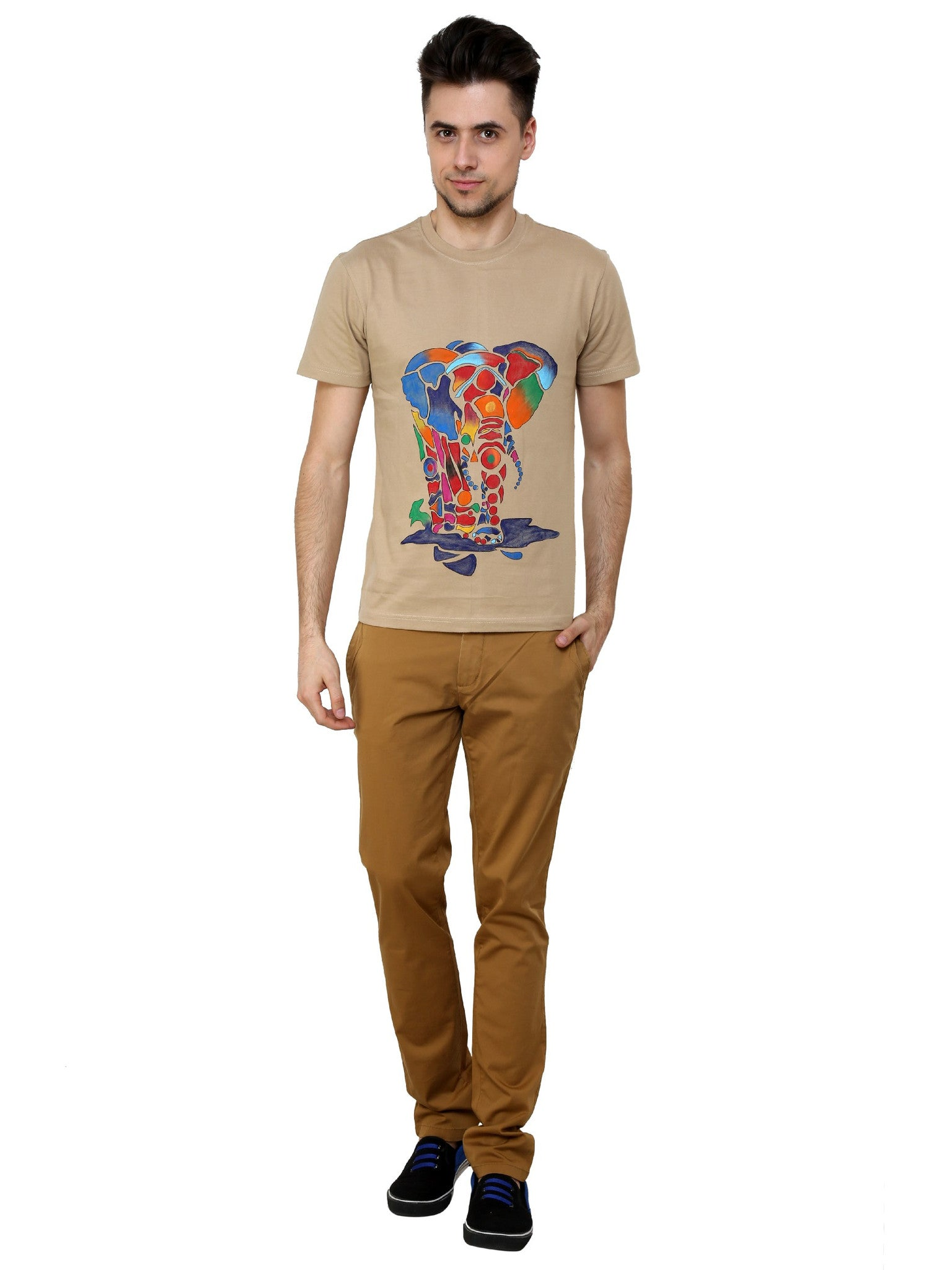 Hand-painted Rainbow Elephant Beige T-shirt - Rang Rage  - 4