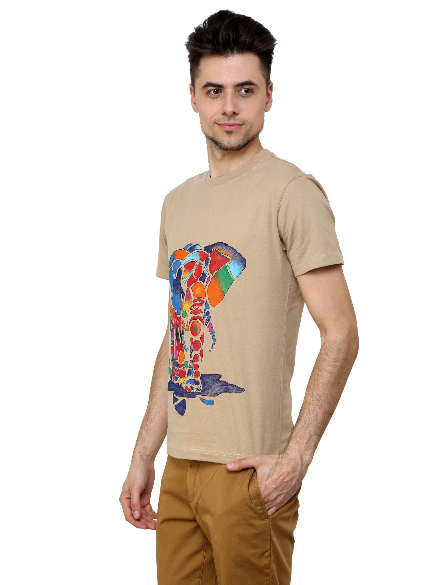 Hand-painted Rainbow Elephant Beige T-shirt - Rang Rage  - 3
