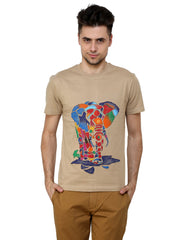 Hand-painted Rainbow Elephant Beige T-shirt - Rang Rage  - 1