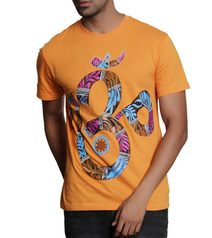 Hand-painted Mystic Aum Orange T-shirt - RANGRAGE  - 1