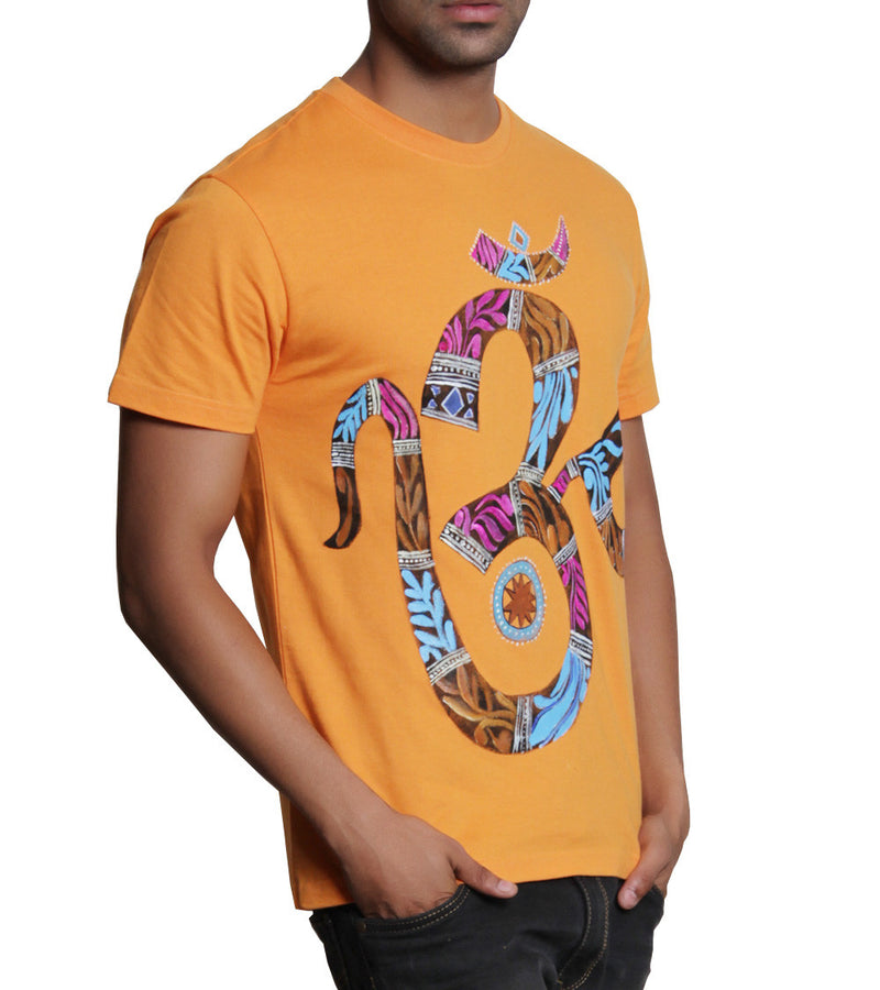 Hand-painted Mystic Aum Orange T-shirt - RANGRAGE  - 2