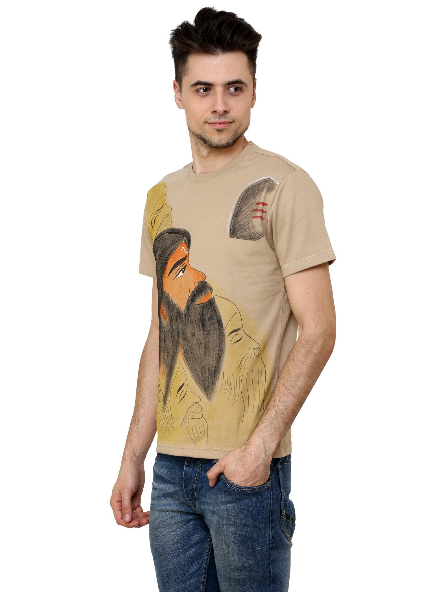 Hand-painted Indian Sage T-shirt - Rang Rage  - 3