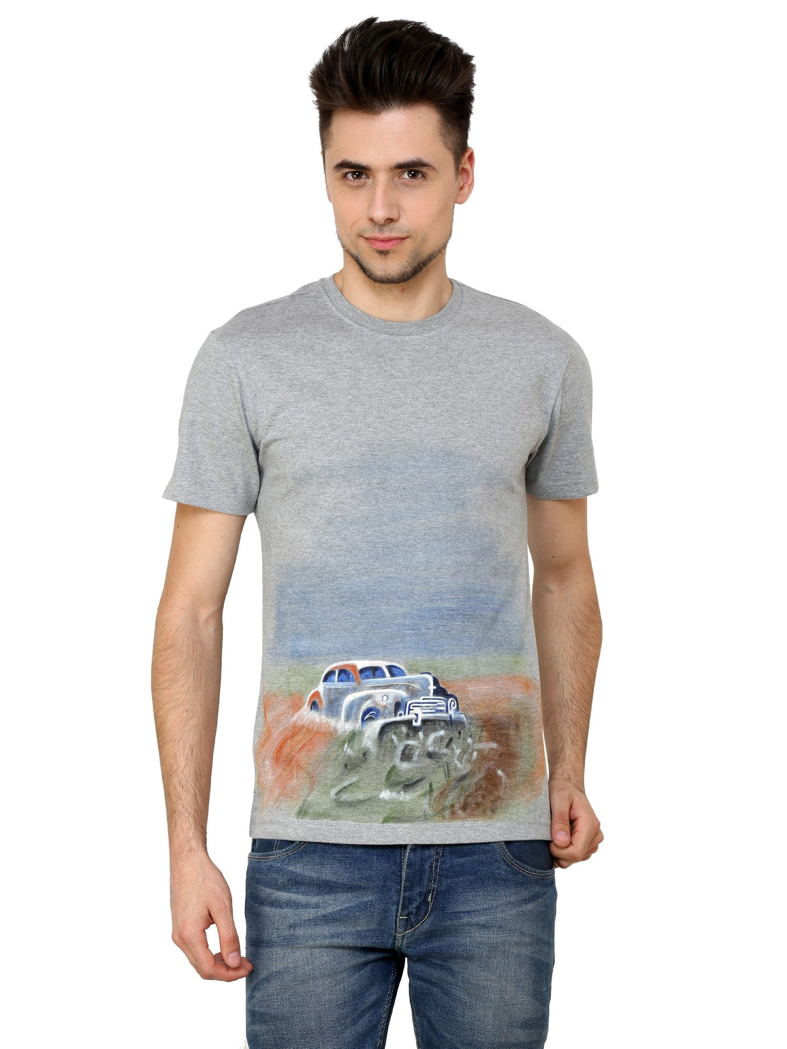Hand-painted Vintage Car Grey T-shirt - Rang Rage  - 1