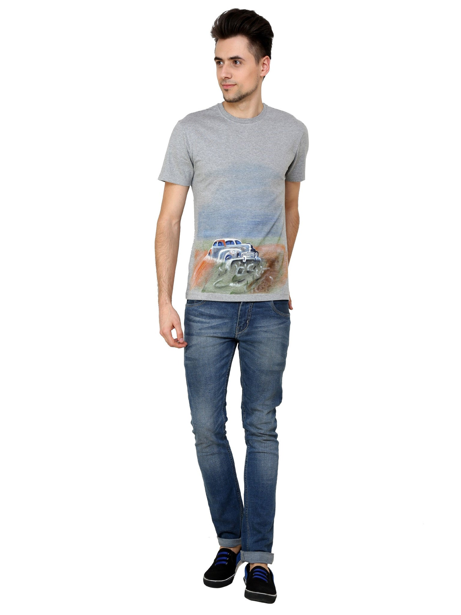 Hand-painted Vintage Car Grey T-shirt - Rang Rage  - 4