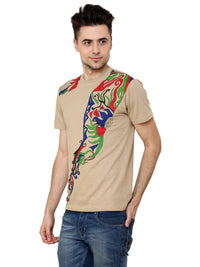 Hand-painted Abstract Flow Beige T-shirt - RANGRAGE