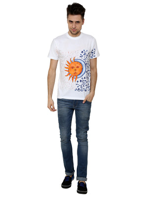 Hand-painted Sun and Moon White T-shirt - RANGRAGE  - 4