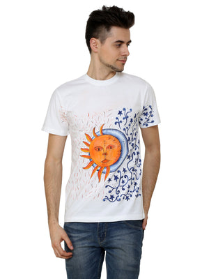 Hand-painted Sun and Moon White T-shirt - RANGRAGE  - 1