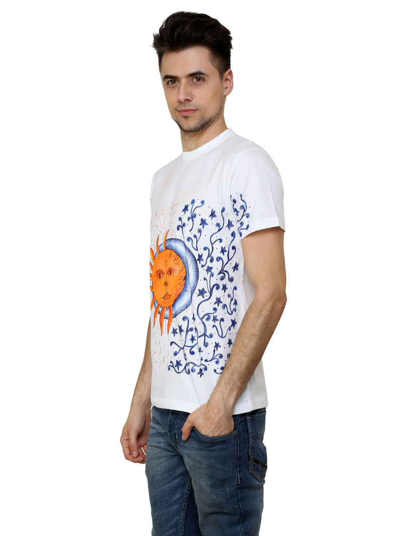 Hand-painted Sun and Moon White T-shirt - RANGRAGE  - 3