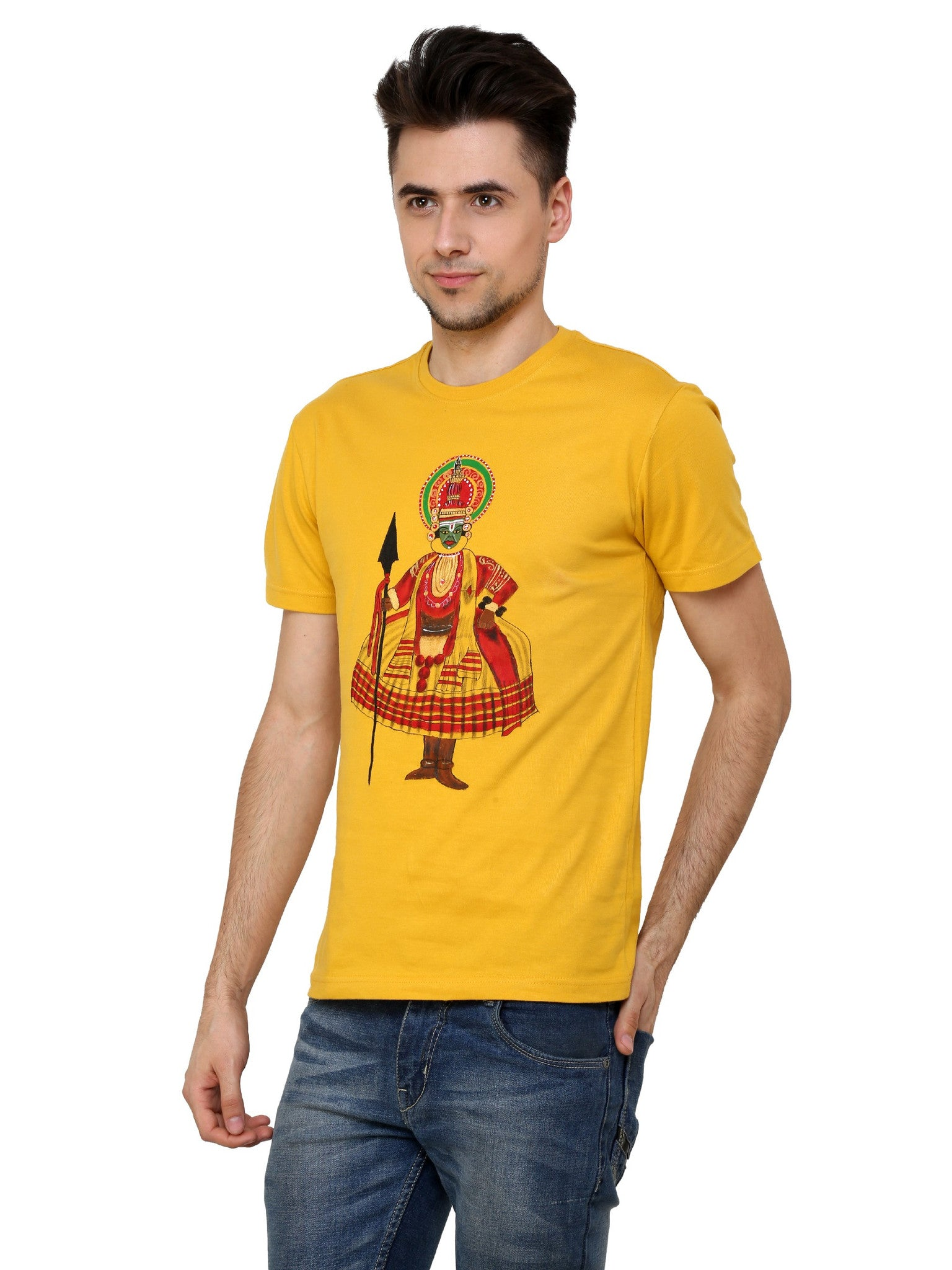 Hand-painted Kathakali Men Yellow T-shirt - Rang Rage  - 3