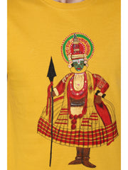Hand-painted Kathakali Men Yellow T-shirt - Rang Rage  - 5