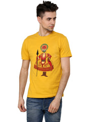 Hand-painted Kathakali Men Yellow T-shirt - Rang Rage  - 1