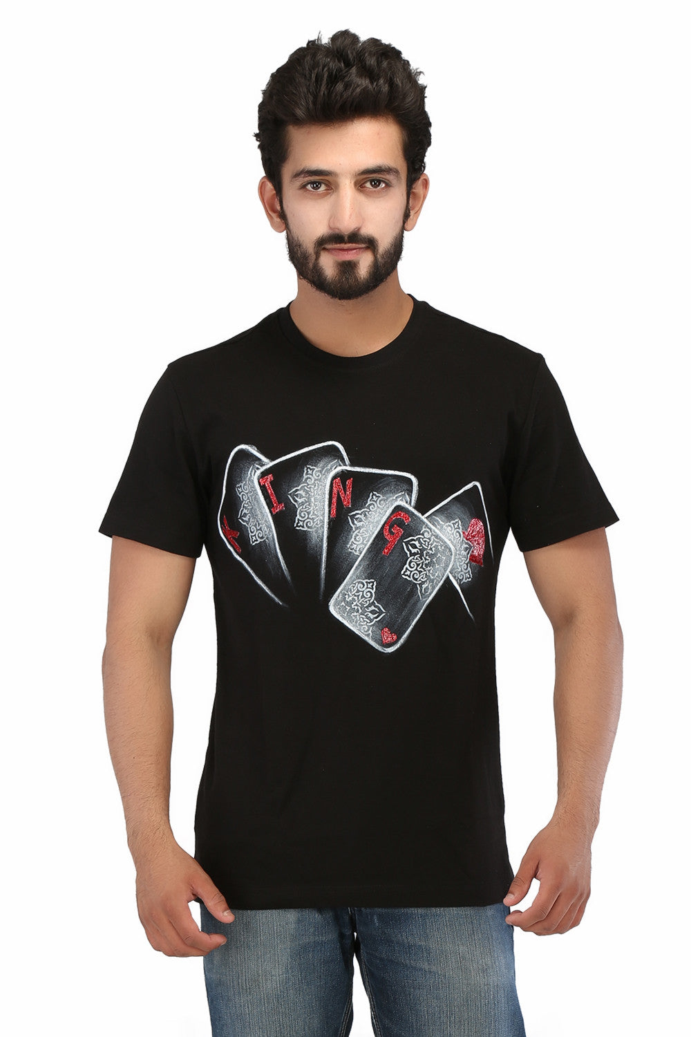 Hand-painted Reigning King Black T-shirt - Rang Rage  - 1