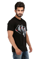 Hand-painted Reigning King Black T-shirt - Rang Rage  - 3
