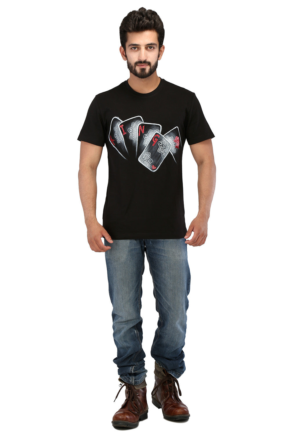 Hand-painted Reigning King Black T-shirt - Rang Rage  - 4