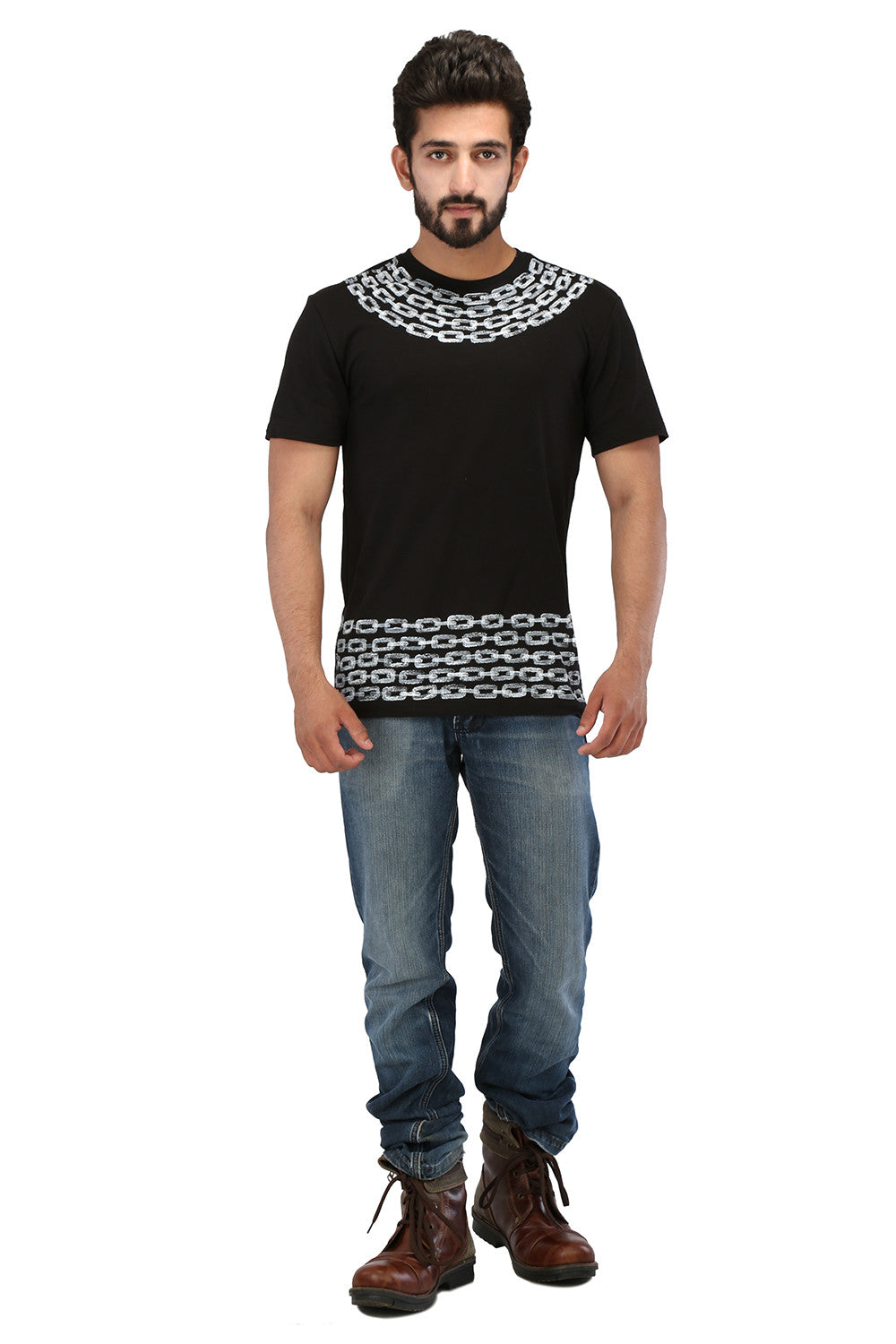 Hand-painted Timeless Bond Black T-shirt - Rang Rage  - 4