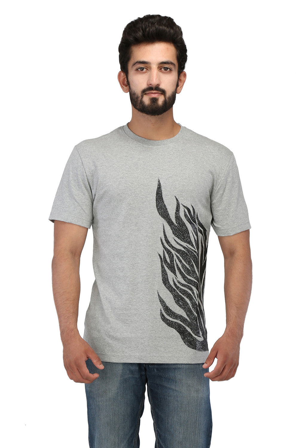 Hand-painted Flames of Passion Grey T-shirt - Rang Rage  - 1