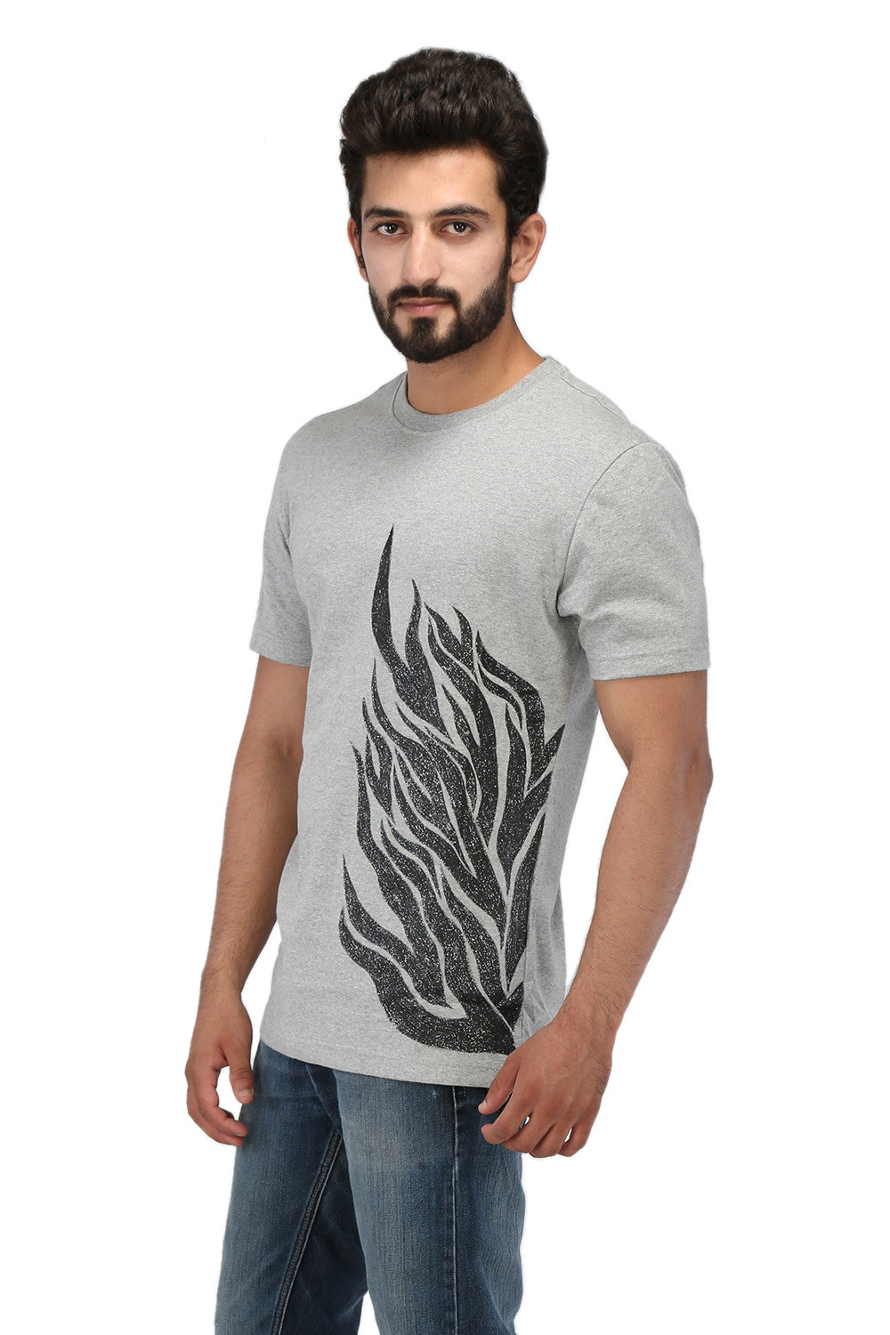 Hand-painted Flames of Passion Grey T-shirt - Rang Rage  - 3