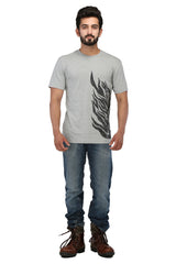 Hand-painted Flames of Passion Grey T-shirt - Rang Rage  - 4