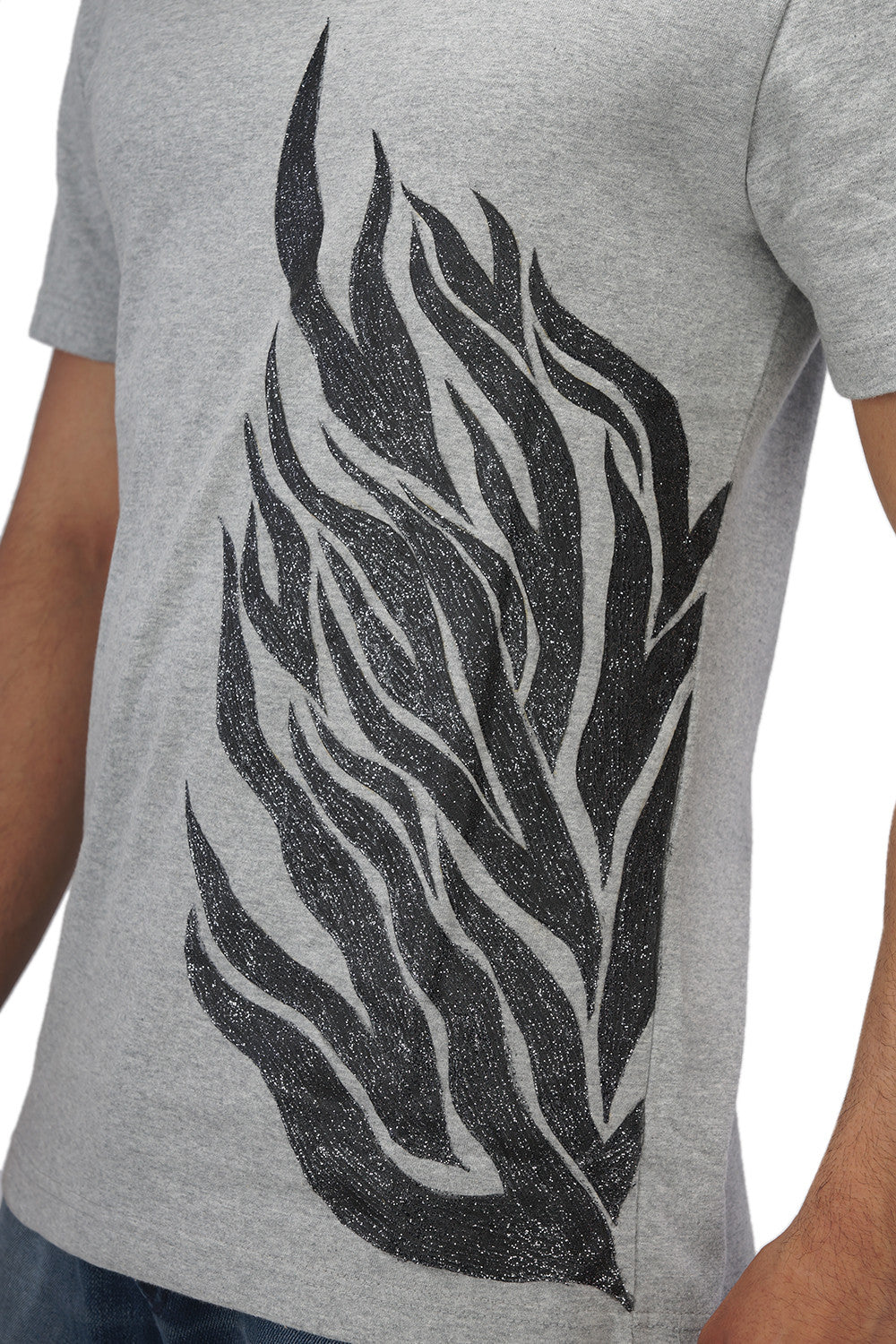 Hand-painted Flames of Passion Grey T-shirt - Rang Rage  - 6