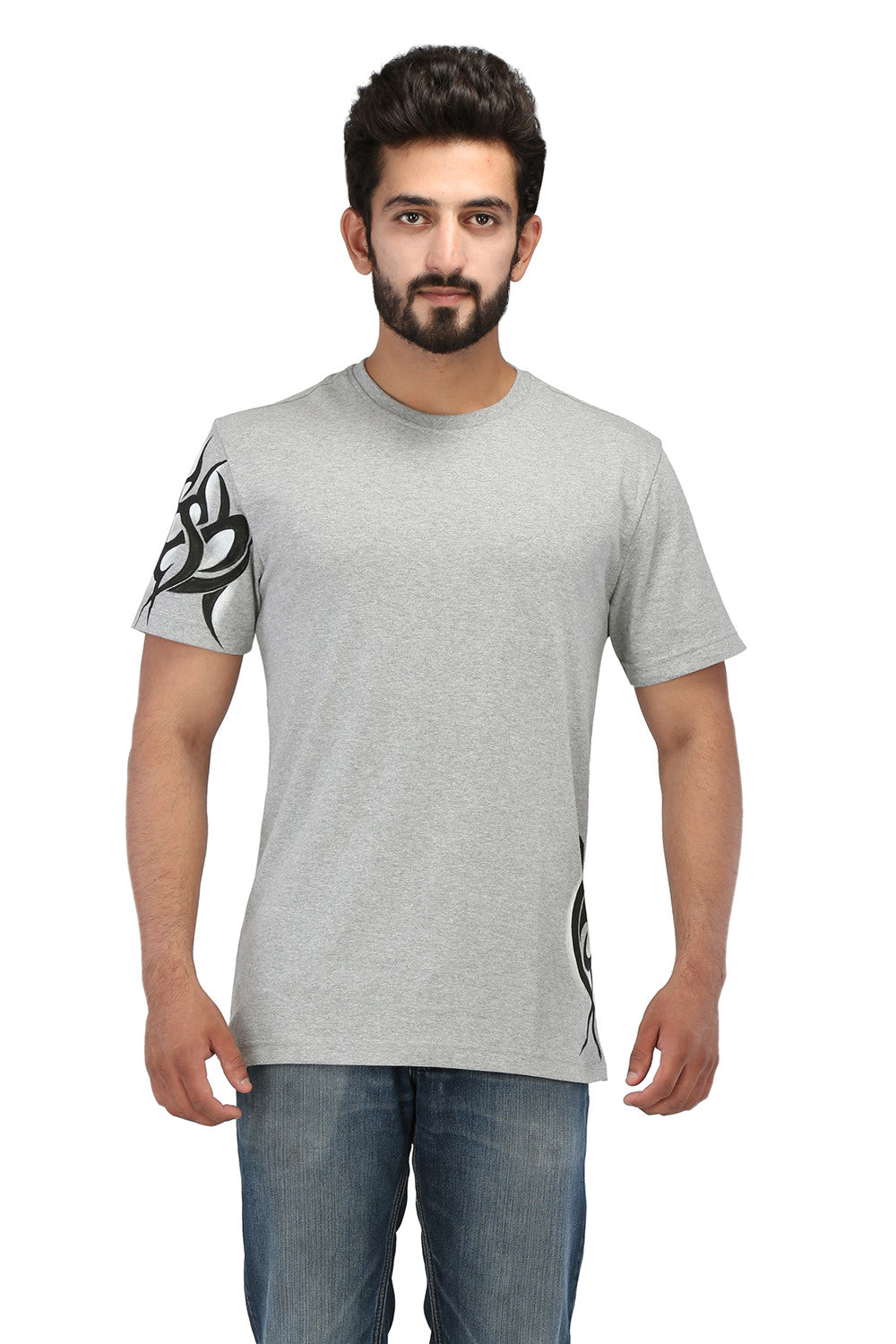Hand-painted Tribal Muse Grey T-shirt - Rang Rage  - 1