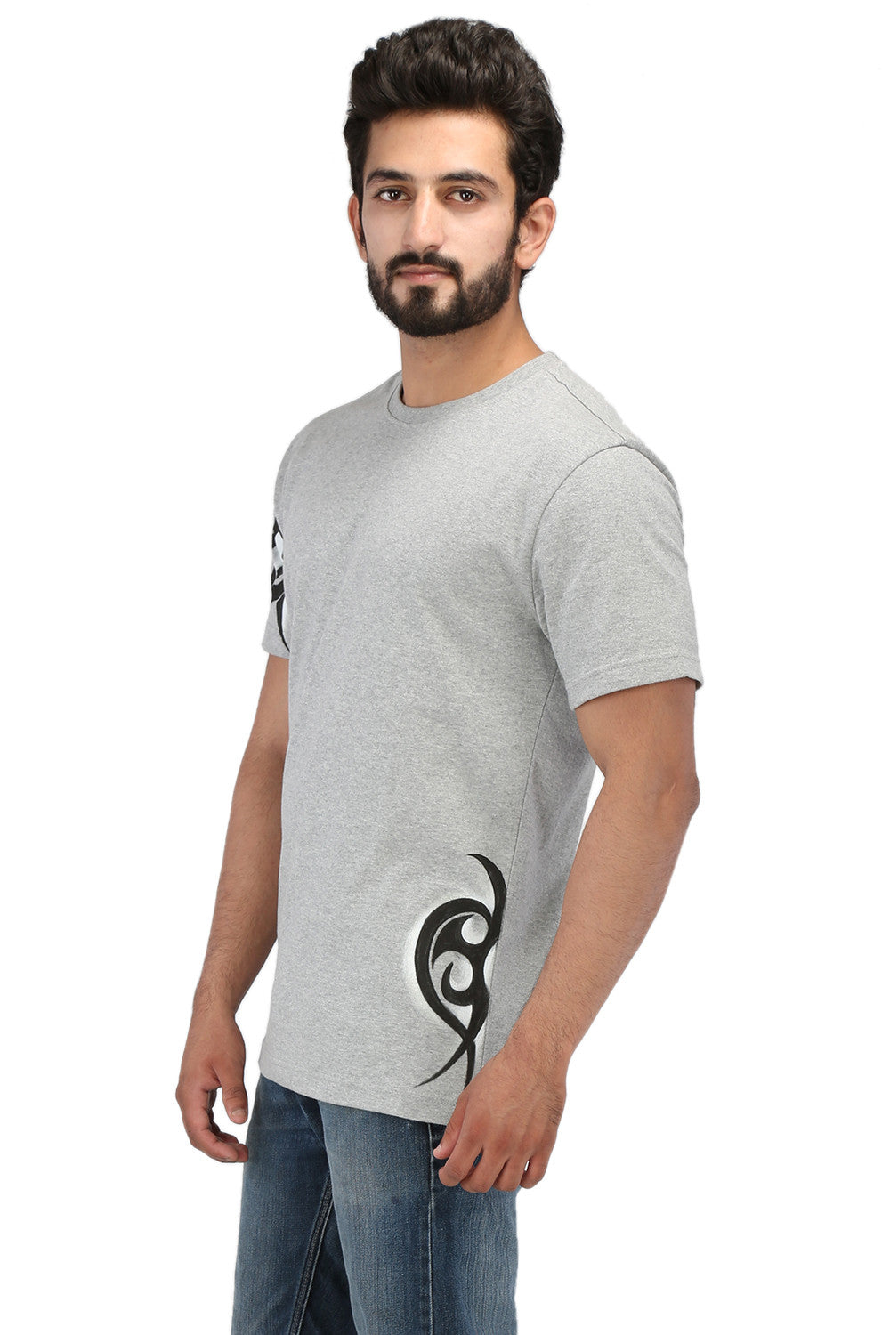 Hand-painted Tribal Muse Grey T-shirt - Rang Rage  - 3