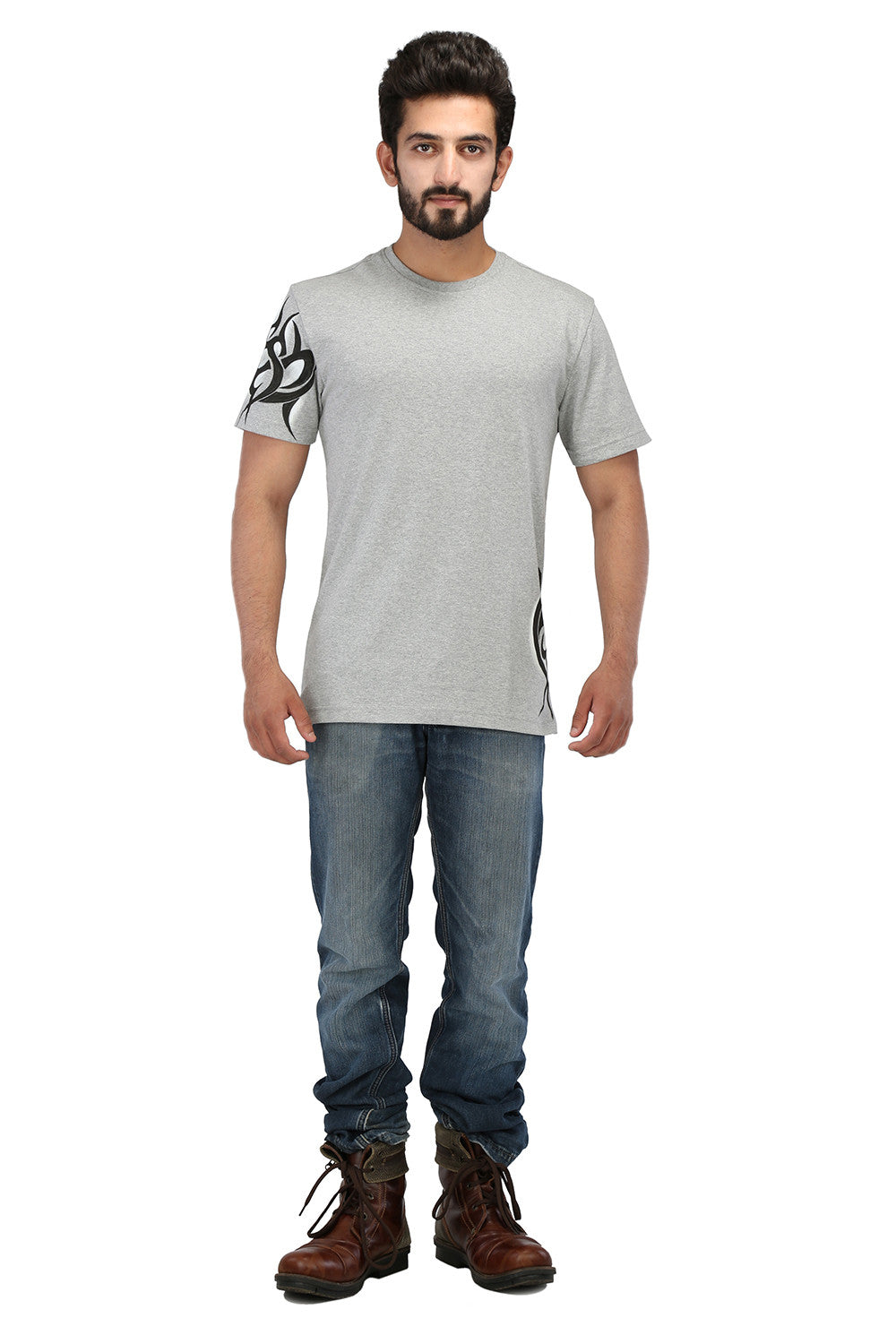 Hand-painted Tribal Muse Grey T-shirt - Rang Rage  - 4