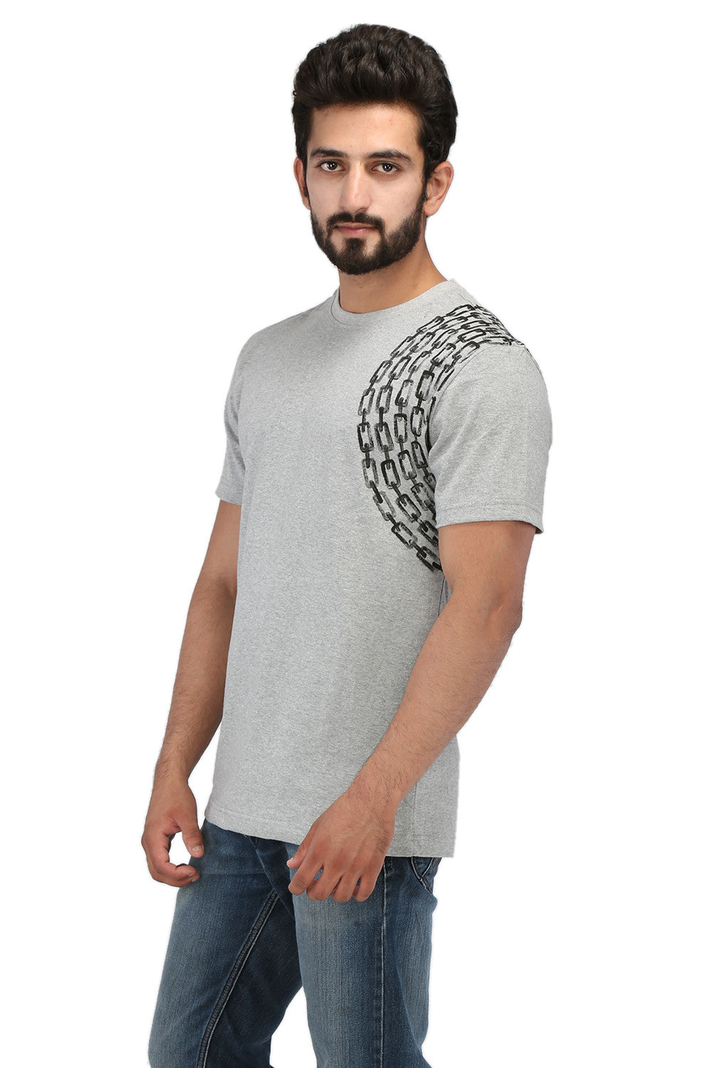 Hand-painted Minimalist Chain Grey T-shirt - Rang Rage  - 3