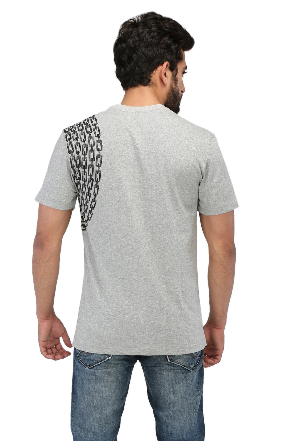 Hand-painted Minimalist Chain Grey T-shirt - Rang Rage  - 2