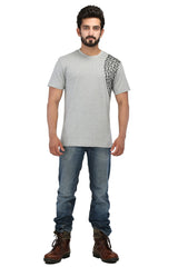 Hand-painted Minimalist Chain Grey T-shirt - Rang Rage  - 4