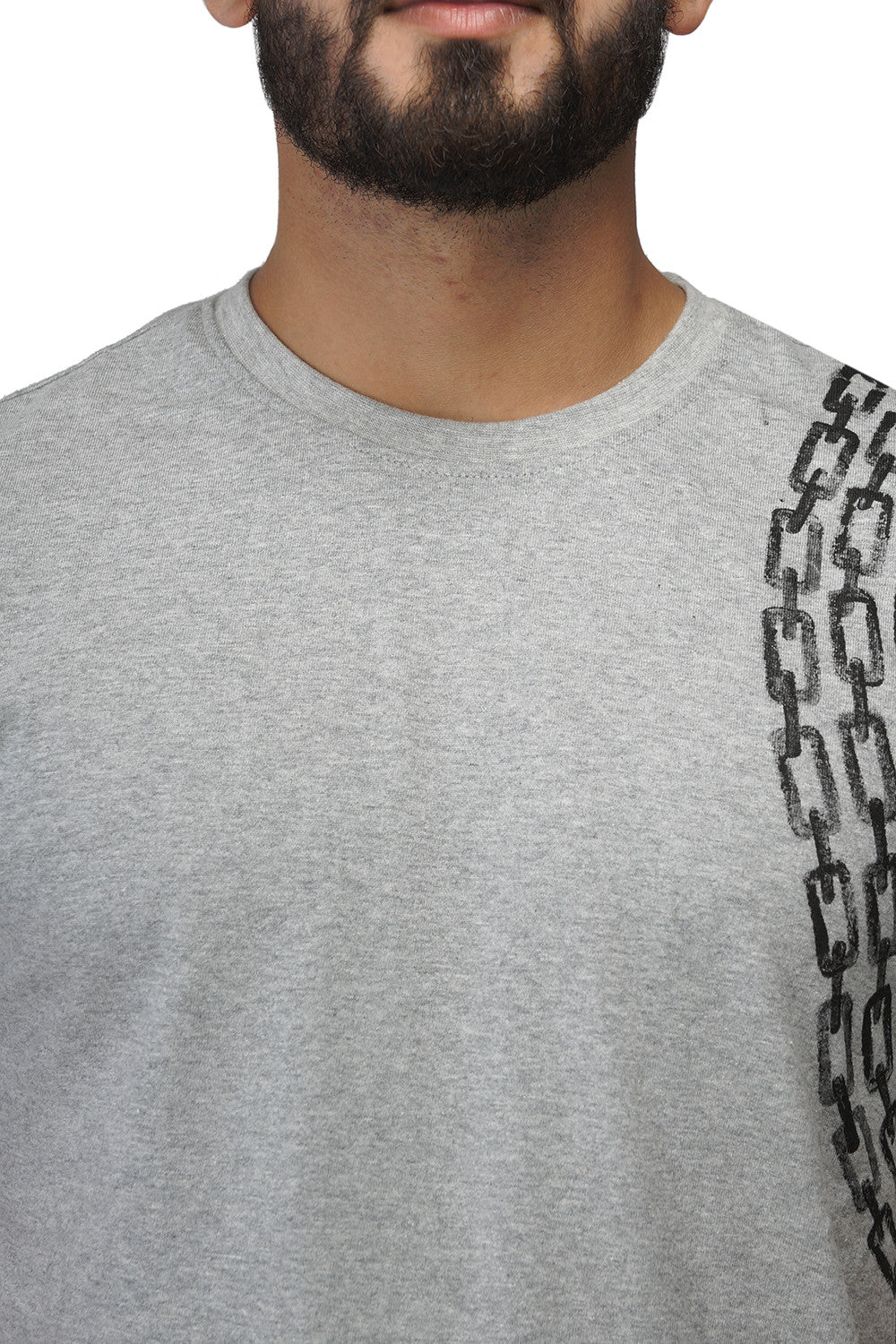 Hand-painted Minimalist Chain Grey T-shirt - Rang Rage  - 5