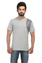 Hand-painted Minimalist Chain Grey T-shirt - Rang Rage  - 1