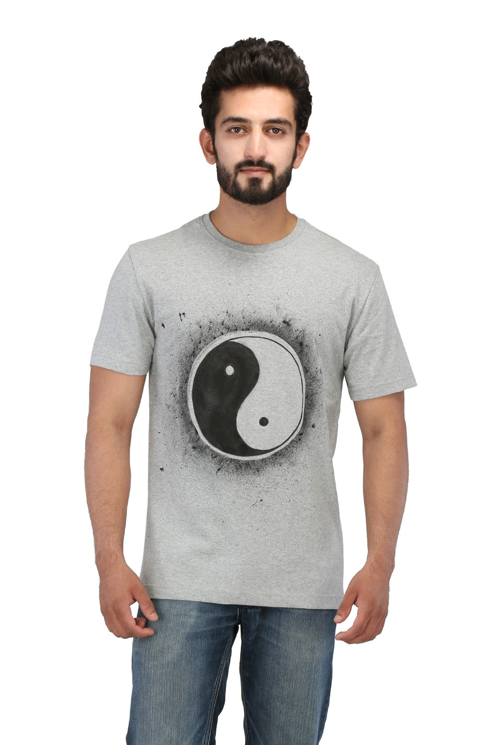 Hand-painted Yin-Yang Grey T-shirt - Rang Rage  - 1