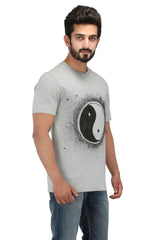 Hand-painted Yin-Yang Grey T-shirt - Rang Rage  - 3