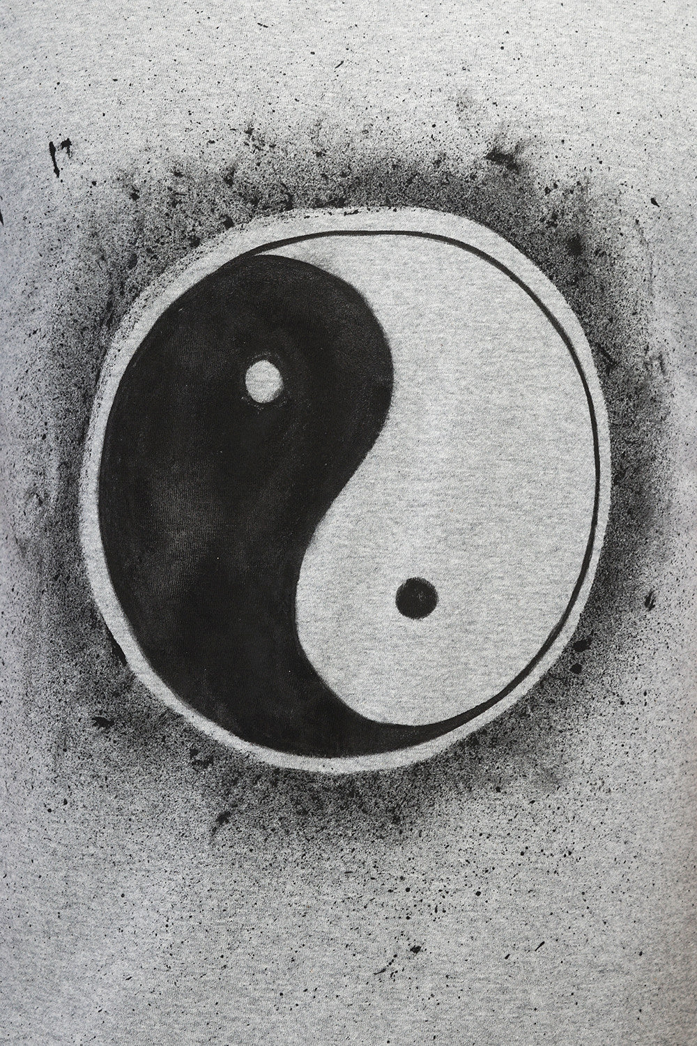 Hand-painted Yin-Yang Grey T-shirt - Rang Rage  - 6